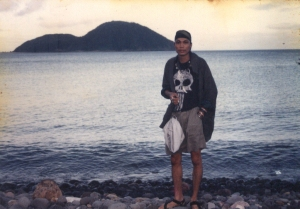 Standing on Camiguin Island, with Fuga Island in the background