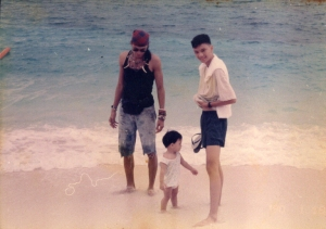 Walking along the beach with my brother and nephew
