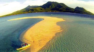 Camiguin Island sand bar and Mt Hibok-hibok  Photograph c/o lifestyle.inquirer.net
