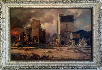 1945 Fernando Amorsolo - Rizal Avenue on Fire