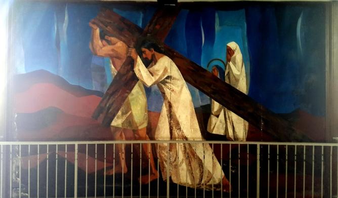 1955-56 Vicente Manansala & Ang Kuikok - Stations of the Cross V: Simon of Cyrene helps Jesus carry the Cross