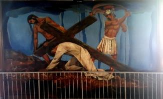 1955-56 Vicente Manansala & Ang Kuikok - Stations of the Cross IX: Jesus falls the third time
