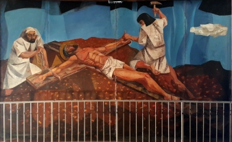 1955-56 Vicente Manansala & Ang Kuikok - Stations of the Cross XI: Jesus is nailed to the Cross