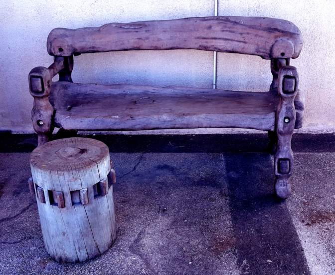 38 1994 Rey Paz Contreras - Wood Carved Bench