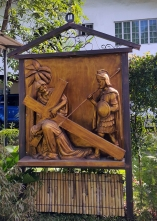 Garden of the Stations of the Cross: Jesus falls for the First Time