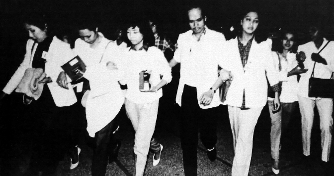 February 9, 1986, 35 tabulators manning the COMELEC's quick count computer walk out of the Batasang Pambansa, to protest the anomalies in the election results