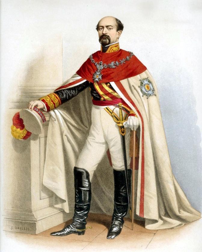 1864 El marqués de Novaliches, revestido con el traje ceremonial y el manto de la Real y Militar Orden de San Fernando
