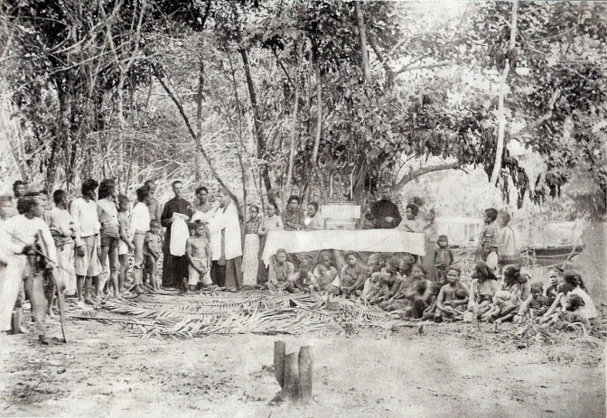 1890s Jesuits administering baptism to natives along Davao River