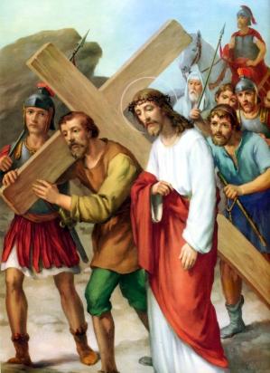 1950s Giuseppe Vicentini (born 1895) Estacion V Jesus es ayudado por Simon de Cirene