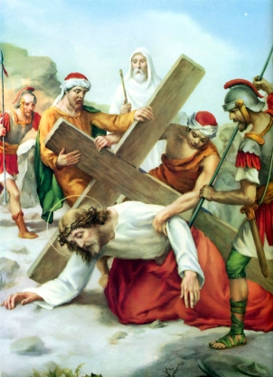 1950s Giuseppe Vicentini (born 1895) Estacion VII Jesus cae por segunda vez
