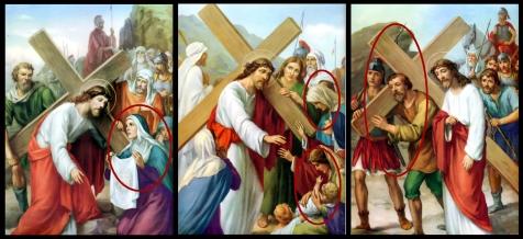 1950s Giuseppe Vicentini - Veronica limpia el rostro de Jesus, Jesus consuela a las piadosas mujeres & Jesus es ayudado por Simon de Cirene