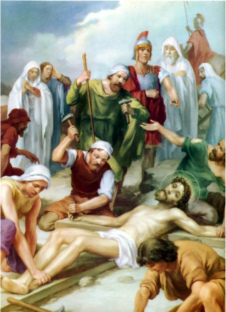 1950s Giuseppe Vicentini (born 1895) Estacion XI Jesus es clavado en la cruz