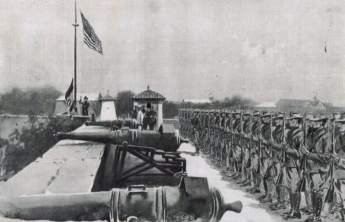 1898 The Fall of Manila, Raising the American Flag over Fort Santiago