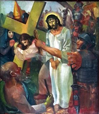 1986 Antonio Ko Jr - Via Crucis V: Simon of Cyrene help Christ carry the Cross