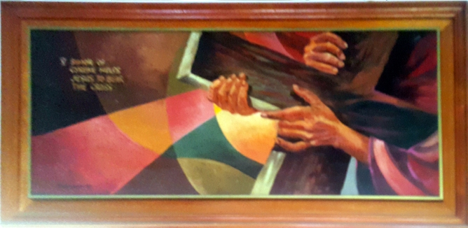 1997 Pancho Piano - Via Crucis V: Simon of Cyrene helps Jesus to carry the Cross