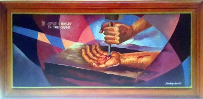 1997 Pancho Piano - Via Crucis XI: Jesus is nailed to the Cross