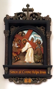 Via Crusis V Simon of Cyrene helps Jesus
