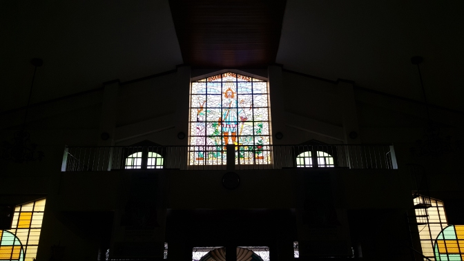 Stained Glass Window of San Isidro Labrador, Narthex and Choir Loft