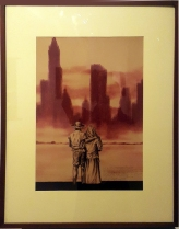 1978 Alfredo Manrique - Farmer and his wife together looking at a background of tall buildings
