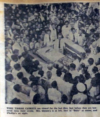 1949 The Burial of Dona Aurora Quezon and her daughter and son-in-law