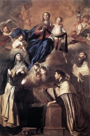 1641 Our Lady of Mount Carmel and Saints (Simon Stock, Angelus of Jerusalem, Mary Magdalene de'Pazzi, Teresa of Avila) by Pietro Novelli (1603-1647)