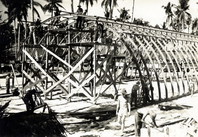 03 1945 American GIs building a Quonset Huts, Philippines