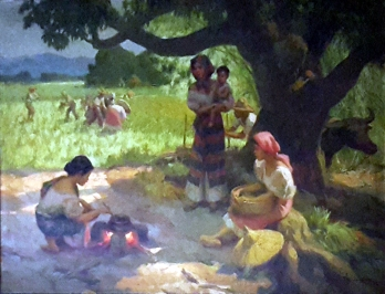 1958 Afternoon Meal of the Rice Workers (Family under the Mango Tree) by Fernando Amorsolo