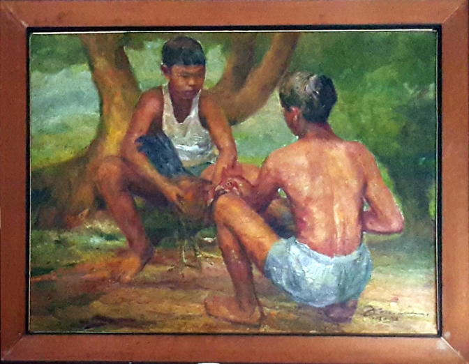 1972 Diosdado Lorenzo's Two Boys Cockfighting under a Tree