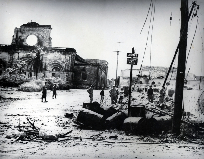 What used to be the magnificent Manila Cathedral. War Damage 1944-1945