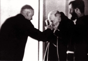 1967 Padre Pio meeting Archbishop Marcel Lefebvre, Superior-General of the Holy Ghost Fathers