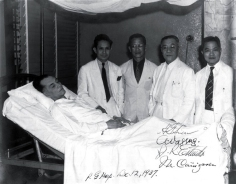 1937 Dr. Januario Estrada (right most) with Pres. Quezon, with Dr Antonio Vasquez (2nd to the right) and Dr Miguel Canizares (leftmost) at the Philippine General Hospital