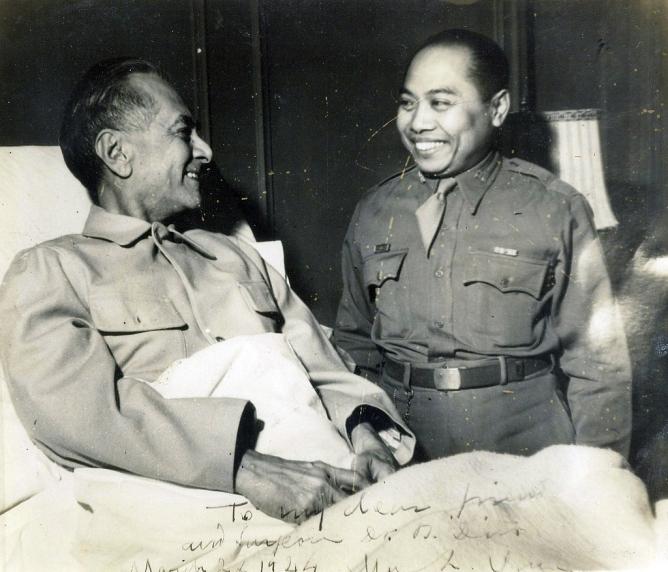 1944 Pres. Quezon and Dr. Bernabe Diño, Lake Saranac, New York USA, a few months before Quezon's Death