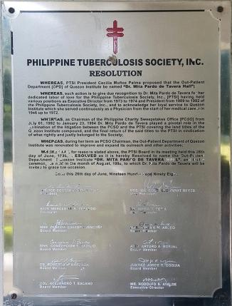 1998 Dr. Mita Pardo de Tavera Hall, Out Patient Department