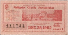 1962 Philippine Tuberculosis Society PCSO ticket