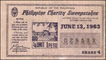 1963 Philippine Tuberculosis Society PCSO ticket