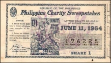 1964 Philippine Tuberculosis Society PCSO ticket