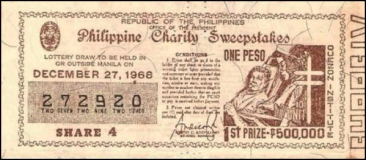 1968 Philippine Tuberculosis Society PCSO ticket
