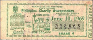 1969 Philippine Tuberculosis Society PCSO ticket
