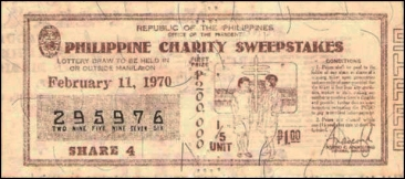1970 Philippine Tuberculosis Society PCSO ticket