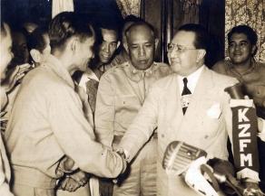 1948 President Elpidio Quirino with Huk Leader Luis Taruc
