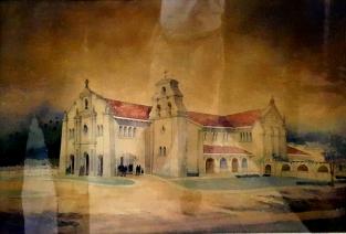 1953-1975 Santuario De San Antonio Parish, persepctive illustration by Arch. Mañalac