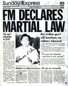 1972 Sunday Express, Pres. Marcos declares Martial Law over the Philippines