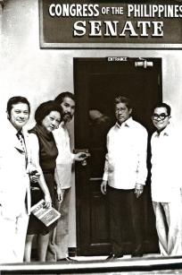 1973 Senators Doy Laurel, Eva Estrada Kalaw, Ramon Mitra, and Jovito Salonga at the padlocked Senate