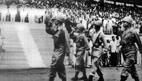 1950 10 BCT Philippine Expeditionary Force to Korea (PEFTOK) parades at Rizal Coliseum prior to deploying to Korea