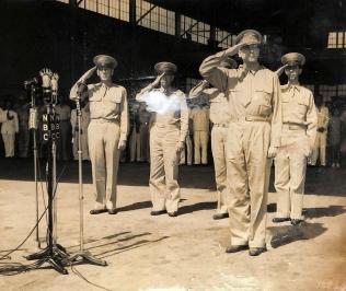 1941 Field Marshal Douglas MacArthur, Lt. Col. Richard K. Sutherland, Col. Harold H. George, Lt. Col. William F. Marquat, and Maj. LeGrande A. Diller