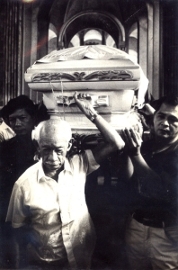"1983 The Author's Father is joined by journalist and oppositionist Don Joaquin ""Chino"" Roces (1913-1988), in carrying the casket of Governor Evelio Javier"