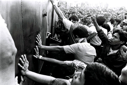 1986 EDSA Revolution, People Blocking the Armored Personnel Carriers (APC)
