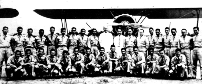 Lt. Col. Dwight E Eisenhower, future U.S. president, with the Philippine Army Air Corps officers at Zablan Field