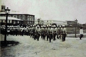 1885 Spanish and Indio Soldiers marching to the Caroline Islands