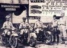 1942 Captain S. Horikawa and Commander Antonio C. Torres inspect the Metropolitan Constabulary Motorcycle Squad